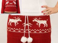An Old Sweater Becomes a Skirt. Hmm would be perfect for to upcycle old ugly sweaters for our ugly sweater party Old Sweater, Ugly Sweater Party, Sweater Skirt, Ugly Christmas Sweater, Christmas Skirt, Tacky Christmas, Upcycled Sweater, Knit Skirt, Jumper