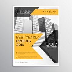 apresentação anual amarelo modelo de panfleto relatório folheto Vetor grátis
