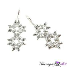 Kolczyki Beaded Elegance - Silver | Tarragon Art - stylowa biżuteria artystyczna