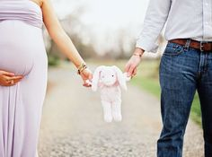 Cute idea using a toy you plan to use in monthlies with baby for your maternity shoot!