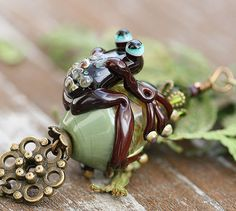 Frog Pendant on brass chain  brown and green by MayaHoneyJewelry