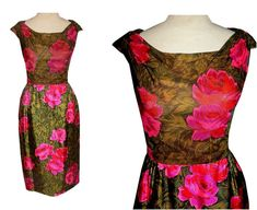 Vintage 50's Couture ROSES Silk Wiggle by TheVintageVaultShop