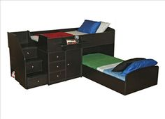 Berg Furniture Twin Size Captains Bunk Bed for Two is now available in Black Sable Finish. $1892
