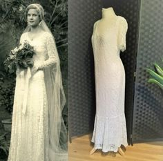 Your place to buy and sell all things handmade 1930s Style Wedding Dresses, 1940s Fashion Dresses, White Lace Wedding Dress, Black Sequin Dress, Ivory Wedding, 1920s Style, Dress Lace, 1920s Dress, Vintage Dresses