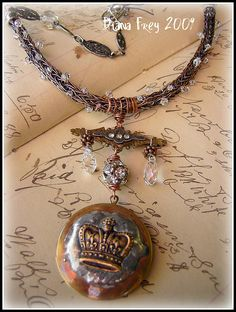 Viking Knit Choker with Crown Locket by Diana Frey, via Flickr