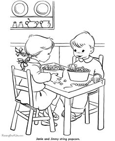 kids printable christmas coloring pages stringing popcorn - Amish Children Coloring Book Pages
