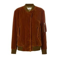 GOLDEN GOOSE DELUXE BRAND 'Jonie' Bomber Jacket ($726) ❤ liked on Polyvore featuring outerwear, jackets, brown, bomber jackets, blouson jacket, brown velvet jacket, velvet bomber jacket and velvet jackets