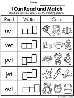 I Can Read and Match -ET Word Family Words                                                                                                                                                     More Free Kindergarten Worksheets, Phonics Worksheets, Reading Worksheets, Printable Worksheets, Kindergarten Phonics, Free Worksheets, Teacher Worksheets, School Worksheets, Printables