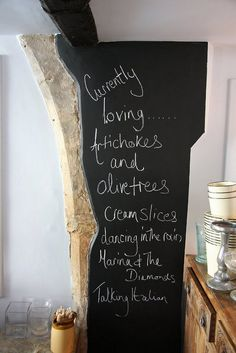 """I was looking to make a chalkboard for my kitchen, and in my """"googling"""" came upon this...so cool! <3"""