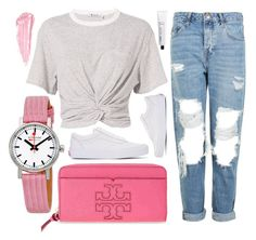 """""""Pink Cloud"""" by jomashop ❤ liked on Polyvore featuring Vans, Mondaine, Tory Burch, T By Alexander Wang, Topshop, By Terry, L:A Bruket and Pink"""