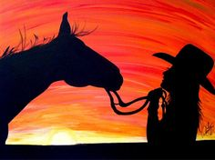 Original acrylic horse and cowgirl silhouette by RNTaylorStudios