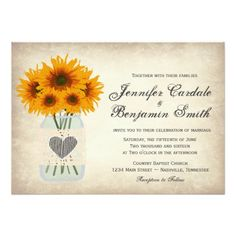 Rustic Mason Jar Sunflower Wedding Invitations with lace and heart design.  40% OFF when you order 100+ Invites.  Perfect for a country wedding.  #wedding