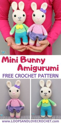 These Mini Bunnies are only about 7 inches tall and full of so much cuteness! Make one, or both of them! Either way they are the perfect size for cuddling, spring decorating, Easter baskets, or for year round projects. This is a free crochet pattern by Loops and Love Crochet!   #crochet #amigurumi #loopsandlovecrochet #crochetbunny #amigurumibunny Holiday Crochet, Easter Crochet, Crochet Bunny, Love Crochet, Crochet Yarn, Crochet Toys, Crochet Animal Amigurumi, Crochet Amigurumi Free Patterns, Crochet Doll Pattern