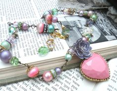 AMANDA necklace pink heart valentine assemblage by lilyofthevally