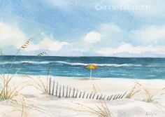 Beach watercolor and other news Strand Aquarell Beach Watercolor, Watercolor Cards, Watercolor Landscape, Watercolour Painting, Landscape Paintings, Beach Scenes, Learn To Paint, Pictures To Paint, Beach Art