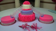 Quinceanera cake with stair case to side cakes.  Follow me on Facebook:   Casa de Cakes in Arizona.    Thank youl