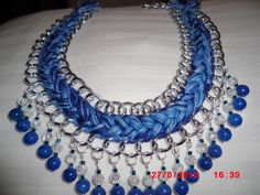 collar con cadena,hilos y perlas de cristal