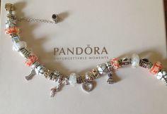 PANDORA Bracelet with Orange Murano and Daisy Clips