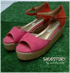 Fuschia Orange wedges. Lets go.to the beach. Perfect for summer. Shoes. Shoestory. Shoestoryindonesia.