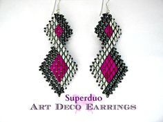 Tutorial to make Art Deco Superduo Earrings in Peyote stitch.  The Double Diamond shaped earrings look like they have come straight from the Great Gatsby Film, very 1920,s.  They measure 2.75 inches long and are supple and fluid, not stiff, so they hang beautifully.  This pattern is suitable for all levels. If you know how to do Peyote stitch, then you can make these. This updated pattern is 5 pages and includes both written instructions and large sized diagrams which are easy to follow…