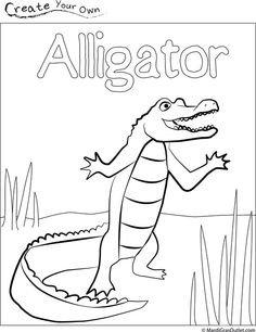 Party Ideas by Mardi Gras Outlet: Alligator Coloring Page and other Louisiana symbols