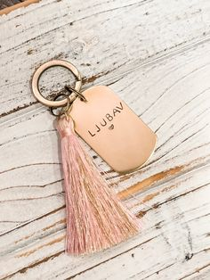 Croatian Keychain LJUBAV LOVE | Etsy Pink And Gold, Color Change, Hand Stamped, Goodies, Personalized Items, Love, Etsy, Jewelry, Sweet Like Candy