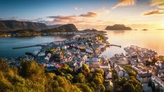 Alesund, Norway Alesund, Norway, River, Sunset, Landscape, Amazing Nature, Outdoor, Instagram, Sunsets