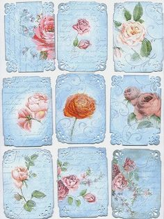 A rose is a rose ATCs  --  a set of 9 Artist Trading Cards by Agnieszka Posluszny (latarnia_morska on Flickr)