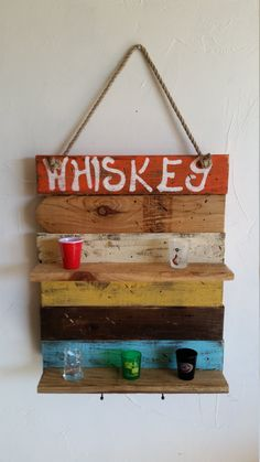 Rustic handmade hand painted Whiskey bar by RustyBarrelCreations