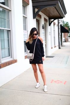 The perfectly chic sweater mini dress with cold shoulder detail via For All Things Lovely For All Things Lovely, Female Fashion, Womens Fashion, Lovely Dresses, Golden Goose, Spring Fashion, Winter Outfits, Fashion Ideas, Chloe