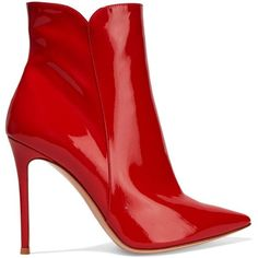 Gianvito Rossi Levy 100 patent-leather ankle boots found on Polyvore featuring shoes, boots, ankle booties, red, обувь, high heel ankle boots, wide width booties, wide width ankle boots, pointed toe high heel booties and pointed toe booties