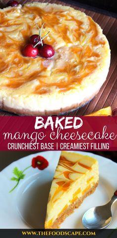 Mango Swirl Cheesecake Baked Mango Cheesecake - A crunchy graham cracker base topped with the creamiest Mango Cheesecake Filling and swirled with Mango Puree. Mango Desserts, No Bake Desserts, Oreo Desserts, Vegan Desserts, Mango Cheesecake, Baked Cheesecake Recipe, Strudel, Nutella, Mango Cake