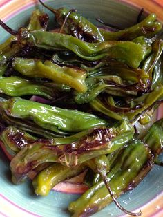 Shishito peppers, blistered in olive oil. Excellent snack! Photo by Mia Temple Medeiros #peppers #healthysnack #healthfood #simplerecipe