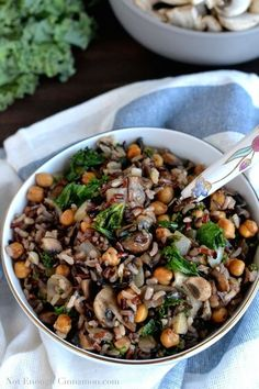 Kale, Mushroom and Roasted Chickpea Rice Bowls