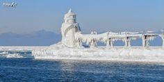"""Winter Blue"" Ice covered pier & lighthouse, St Joseph, Michigan"