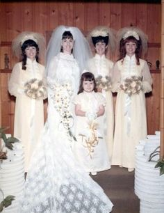 1970 bride Sheila with her attendants