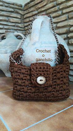Crochet o ganchillo: BOLSO DE TRAPILLO BROWN