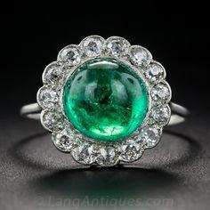 Edwardian 3.50 carat Cabochon Emerald and Diamond Ring