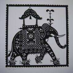 indian elephant print by folk art papercuts by suzy taylor | notonthehighstreet.com