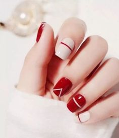 Simple red and beige nail art design