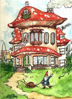 Gnome Home - A gnome print, woodland print -- By Georgia Dunn