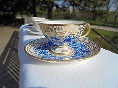 Vintage Rosenthal Selb-Bavaria Tea Cup Saucer Demi-tasse Blue flowers gold trim