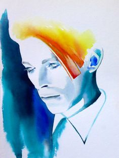 David Bowie Art Print of Original Watercolor Painting Man Who Fell to Earth Portrait Home Decor Orange Teal 70s