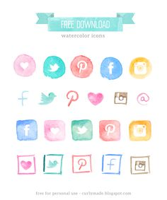 Curly Made | Free Watercolor Social Media Icons. The files are in jpg, png and psd (photoshop).