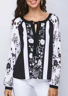 7ddc8564daf18 Tie Neck Printed Long Sleeve Blouse On Sale. Shop print and fashion blouse  at Modlily. It's time to extend your style of clothes.