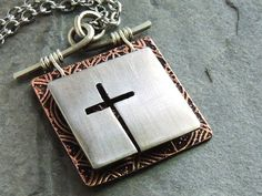 Cross Necklace, Christian Jewelry, 3D Copper Nickel Silver Pendant, Cut Out Cross, Etched Copper