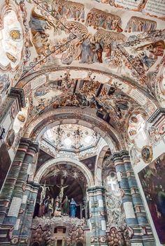 Chapel of Calvary at Santuario Jesus Nazareno (Sanctuary of Jesus the Nazarean) en Atotonilco, Guanajuato, Mexico. 18th Century. The 'Sistine Chapel of America', since 2008 designated 'Cultural Patrimony of Humanity' by the UNESCO.