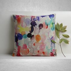 COIXINS Beautiful quality abstract watercolour throw cushion from Etsy. Colourful and cheerful. Get The Design Files look on a budget. A cheap alternative to Fenton & Fenton or Missoni. Throw Cushions, Linen Pillows, Couch Pillows, Futon Sofa, Abstract Watercolor, Watercolor And Ink, Decorative Pillow Covers, Cover Pillow, The Design Files
