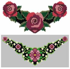 """Peyote"" Roses and Victorian Orchid Choker Patterns by Charley Hughes AKA BeadyBoop at Bead-Patterns.com"