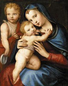 Andrea del Brescianino (1485-1545)  —  Madonna and Child with the Infant St John the Baptist  c. 1524    (7900x1001)